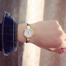 Новые модные часы Для женщин Простой Элегантный Стиль кожаный ремешок Малый Щепка циферблат Повседневное кварцевые часы женские популярные часы