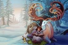 girl art lantern winter book deer tree Alexandra Semushina horns forest  EY15 room home wall modern art decor wood frame poster
