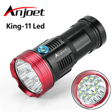 Anjoet 23000 lumens powerful flashlights King 11T6 LED Waterproof torch 11x XM-L T6 LED Outdoor light Camp Hunting for 18650