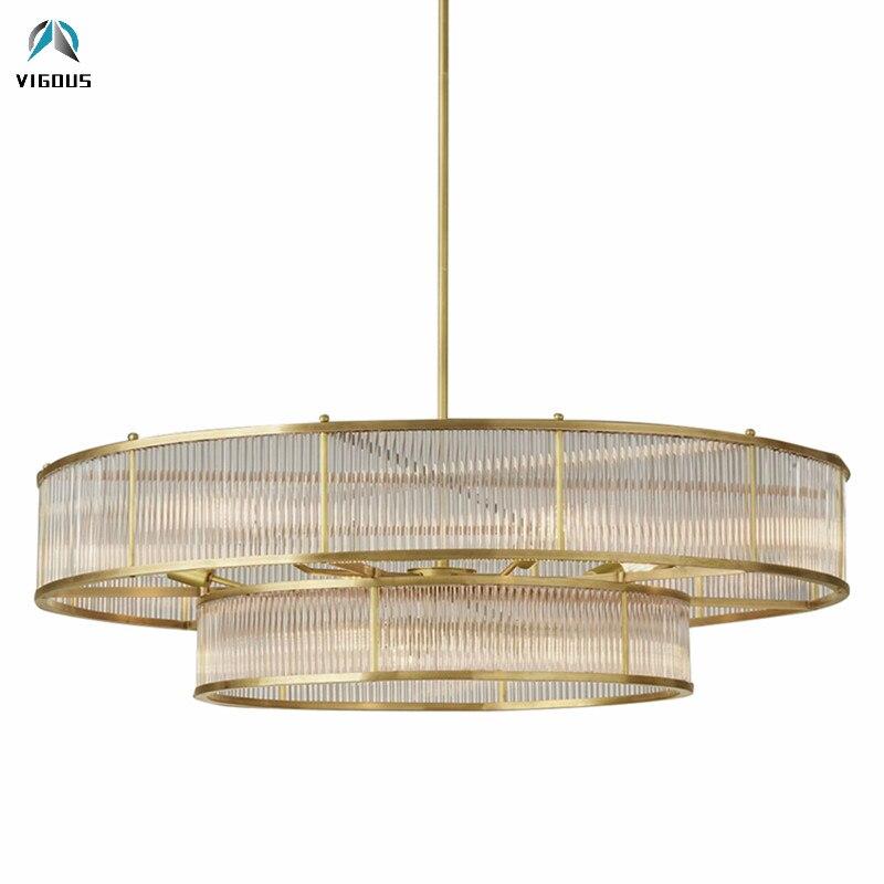Loft RH métal 2 couches rond cercle pendentif LED lampe Lustre Tubes en verre pendentif lumière salon/salle à manger tige suspension lampe