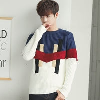 Men sweater Korean style 2019 new winter student male sweater loose pullovers patchwork teenager boy knitted tops fashion