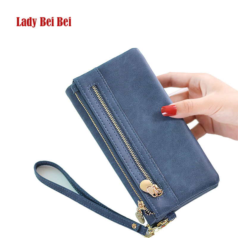 Lady Bei Bei Large Capacity Women Wallets Long Double Zipper Purses Phone Bags PU Leather Clutches Coin Purses Card Holder New
