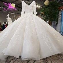 AIJINGYU nowe suknie ślubne suknie z rękawami Vintage Brush dla panny młodej biały gorset egzotyczne Sexy zwykły sprzedam suknia welon ślubny