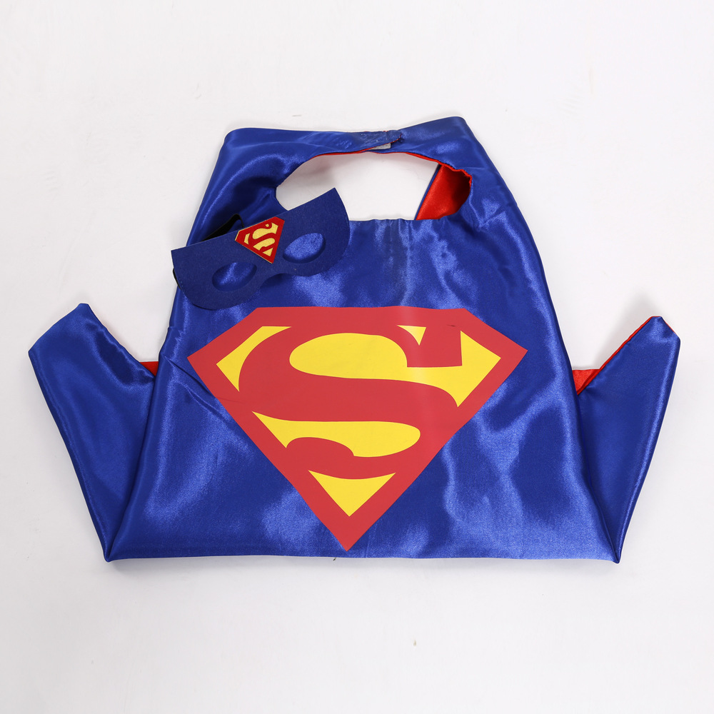 Red&Blue double color Superman Cloak Game Cosplay Costume Children's Clothing Halloween Birthday Party Dress Cloak+Mask 2pcs/set