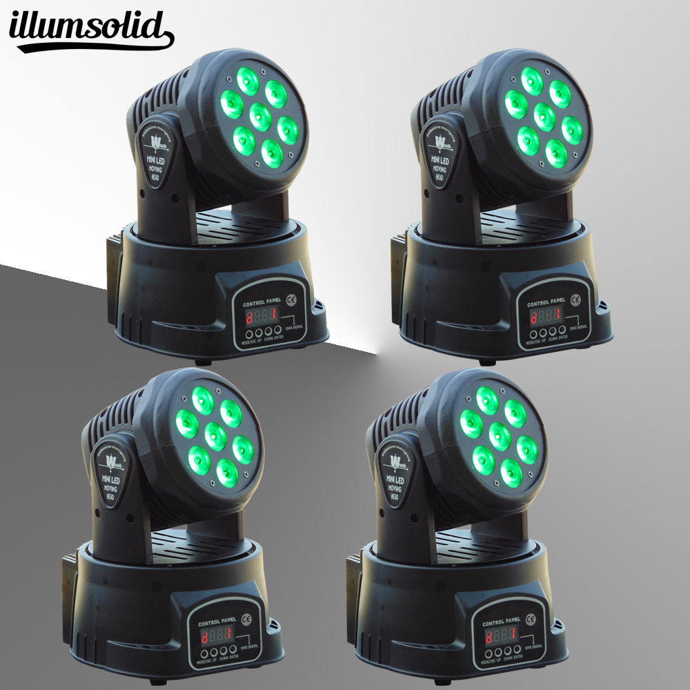 (4pieces/lot) led rgbw mini Moving Head Light Disco Party Night Club Pub Bar KTV 7x12W moving Wash light-in Stage Lighting factory price 4pcs led moving head zoom wash light 36x10w rgbw 4 in1 stage night club disco bar uplighting fast