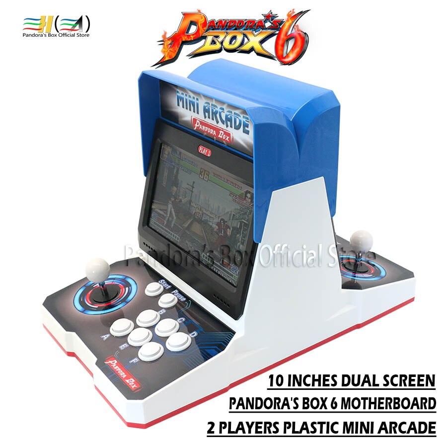 2019 Pandora boîte 6 en plastique mini arcade bartop 2 joueur de combat arcade machine 1300 en 1 jeux d'arcade peut ajouter fba mame ps1 3d
