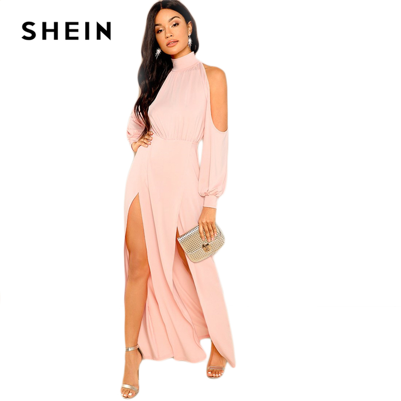 0773518198167 SHEIN Pink Party Elegant M Slit Front Cold Shoulder Natural Waist Long  Sleeve Solid Maxi Dress 2018 Autumn Sexy Women Dresses-in Dresses from  Women's ...