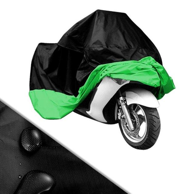 Universal Black-Green XXXL 295*110*140cm Motorcycle Covering Waterproof Scooter Cover UV Dust Resistant Touring 400cc 1100cc