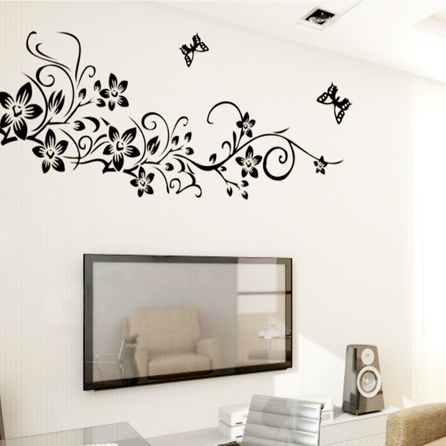 Classical Black Flower Vine Home Decoration Wall Decal 954 Decorative  Removable Wall Sticker TV Wallpaper