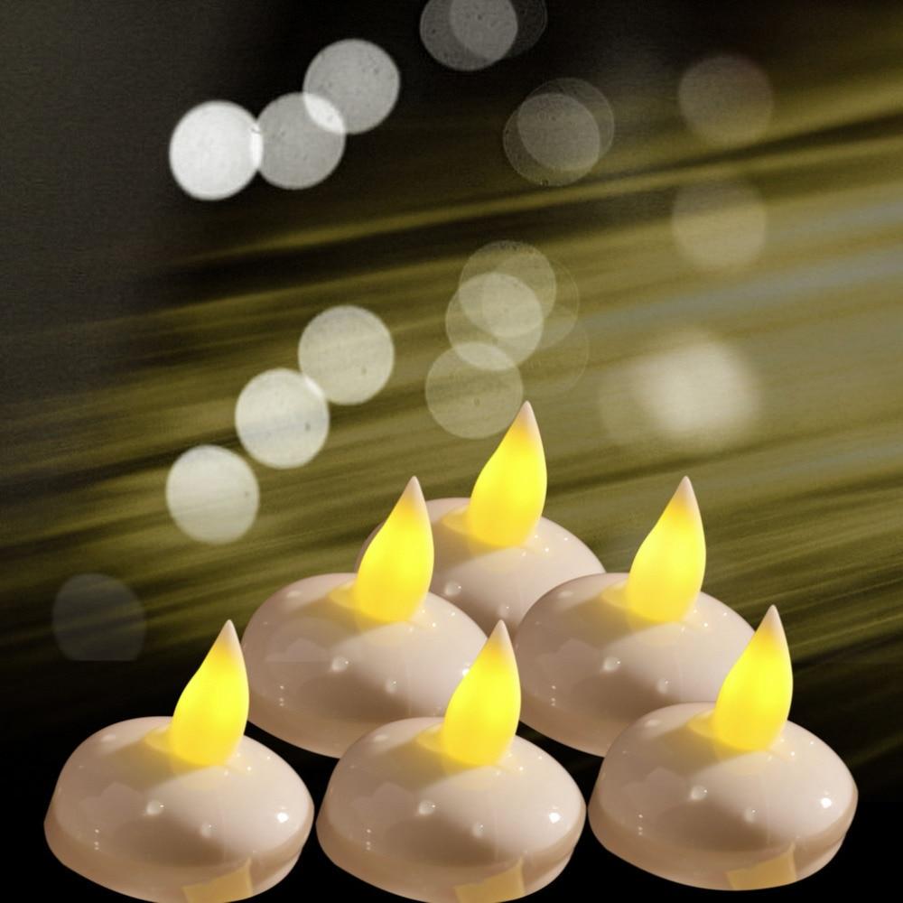 unids agua activada impermeable llevada de la vela para la boda color velas bougie flutuantes