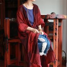 Johnature נשים בציר תעלת משובץ מעילי כיסים 2020 סתיו חדש פשתן קרדיגן Loose מקרית נשים מטליות סיני סגנון טרנץ
