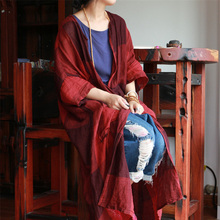 Johnature Women Vintage Trench Plaid Coats Pockets 2020 Autumn New Linen Cardigan Loose Casual Women Cloths Chinese Style Trench