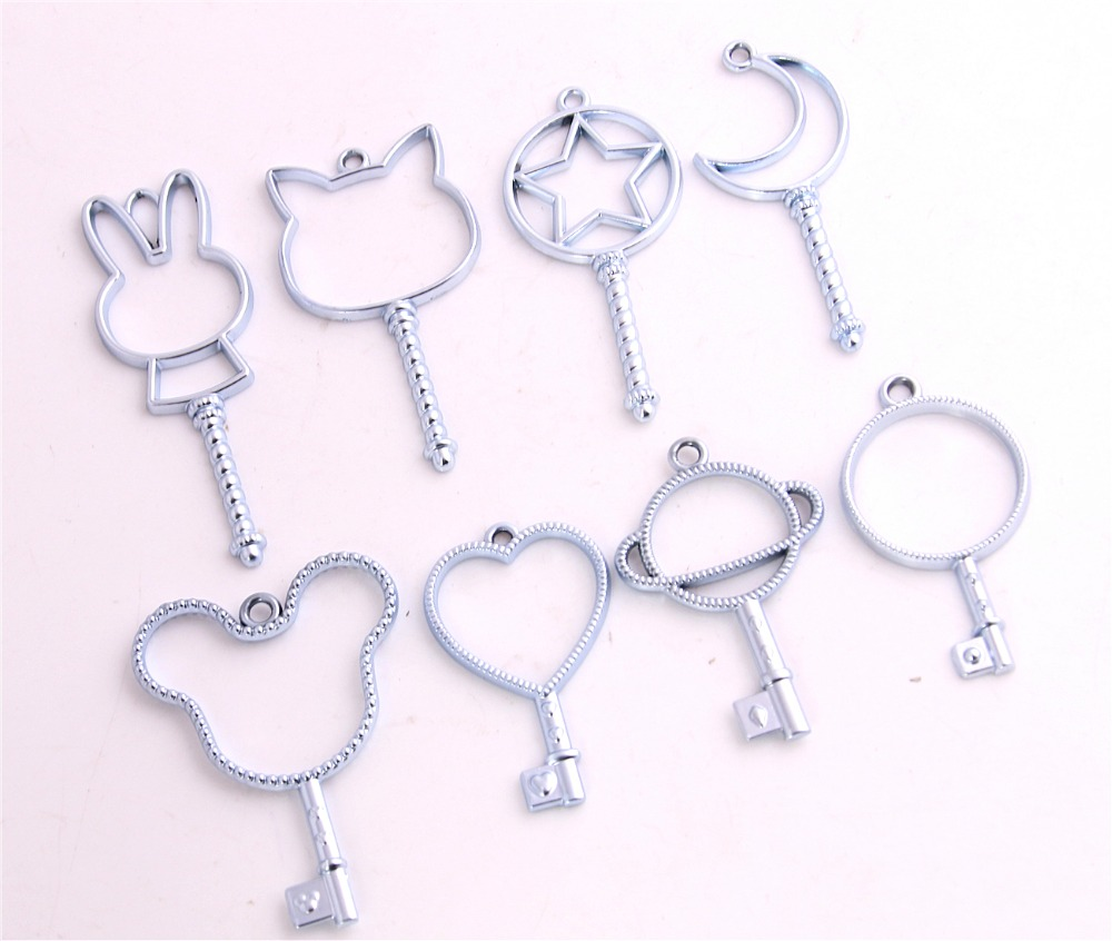 Sweet Bell 8pc light blue Metal Mixed Hollow Charms for Jewelry Making Diy Fashion Accessories Moon Star Pendant Charms D6238