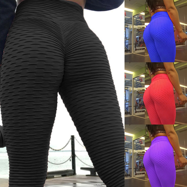 d959fcf056 High waist Scrunch butt Long Pants anti-cellulite leggings Sexy Push up  Booty workout leggins