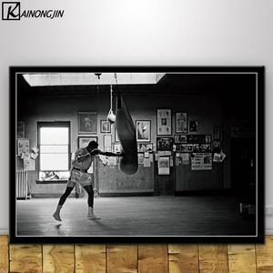 Poster Muhammad Ali King Boxer Motivational Posters and Prints Canvas Painting Wall Art Picture for Living Room Home Decor(China)