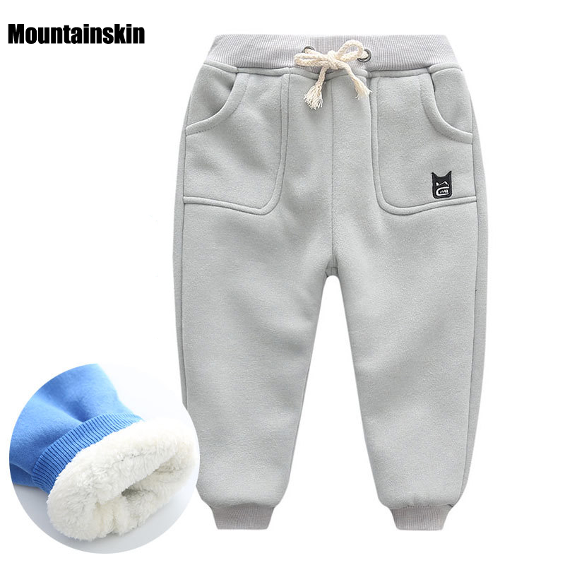 New Winter Kids Brand Fashion Cotton Pants Inside Fleece Boys Girls Thick Sports Trousers Thermal 1