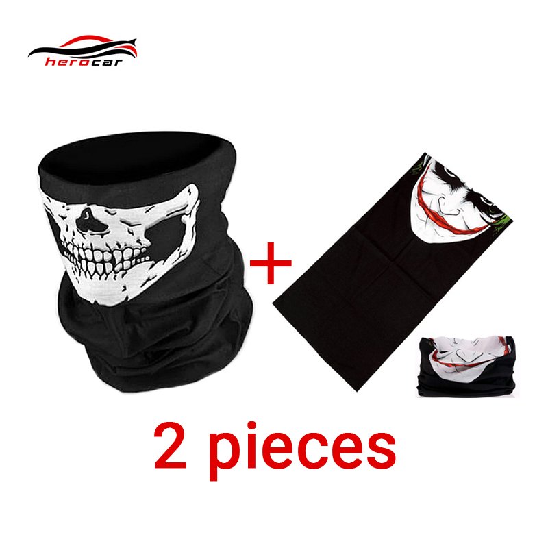 HEROBIKER Motorcycle Mask Summer Balaclava 2 pieces Skull Ghost Maske Biker Motor Face Shield Windproof Outdoor Face Masks Scarf evomosa motorcycle mask skull ghost mask biker face shield face masks neck scarf balaclava halloween masquerade mask unisex