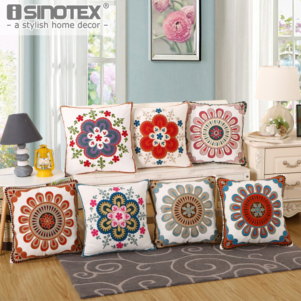 Embroidered Flower Floral Square Pillowcase Pillow Case Cushion Cover Cotton Square Decoration Living Room Home Sofa 45x45CM