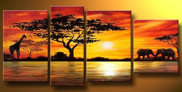 handpainted 4 piece modern landscape oil painting on canvas wall art ...