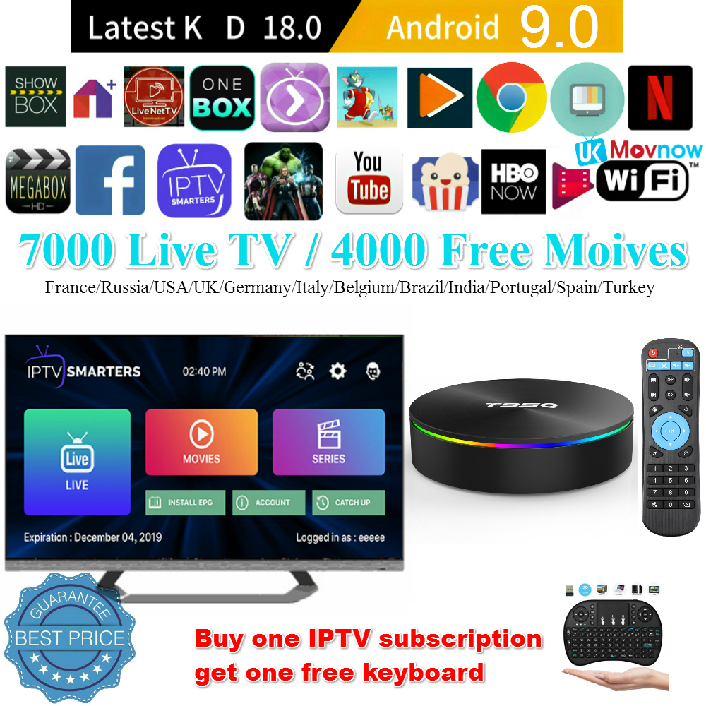 T95Q Android TV Box Android 9.0 Amlogic S905 Y2 4GB DDR4 32GB ROM 2.4G 5G WiFi USB3.0 BT 4.2 Support 4K H.265 lecteur multimédia intelligent