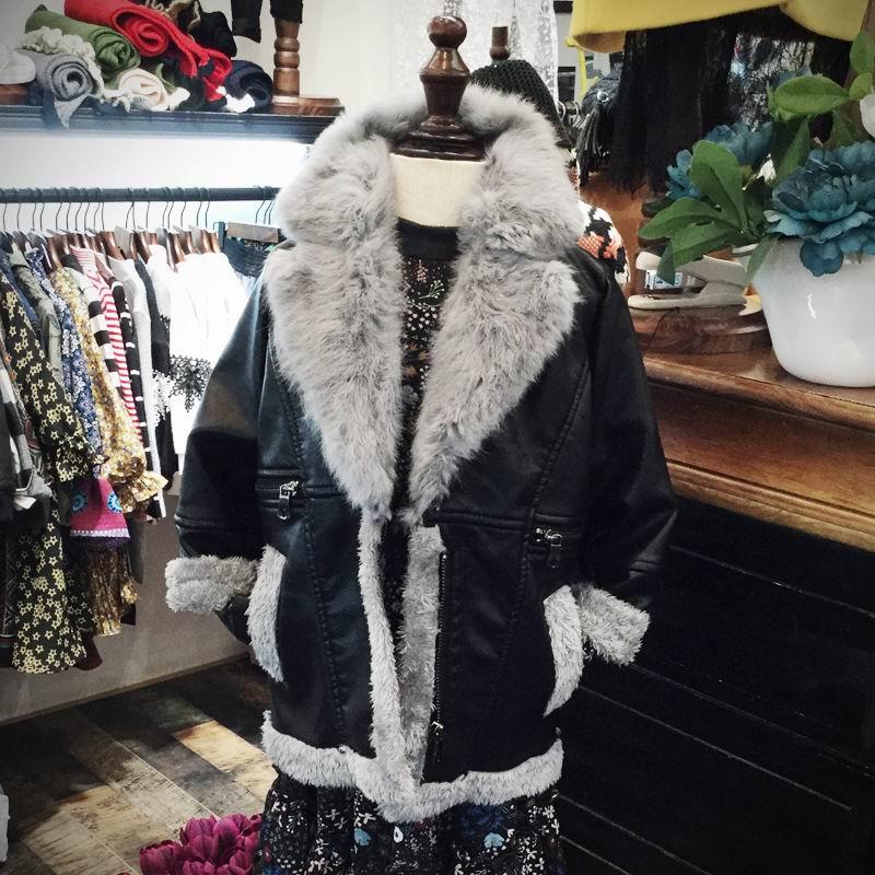Pydownlake Fashion Kids Jacket Outerwear 2016 Winter girls PU Leather Jacket Plus Velvet Warm With Fur Collar Children Coat