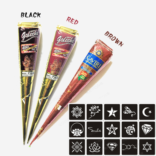 Body Paint Indian Golecha Henna Cones Red Brown Black Color 3 Piece