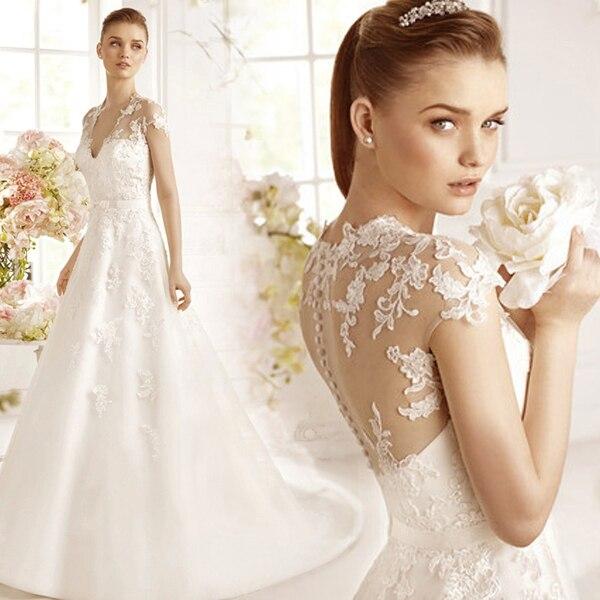 See Through Wedding Dress 2015 Sexy Spanish Lace V Neck