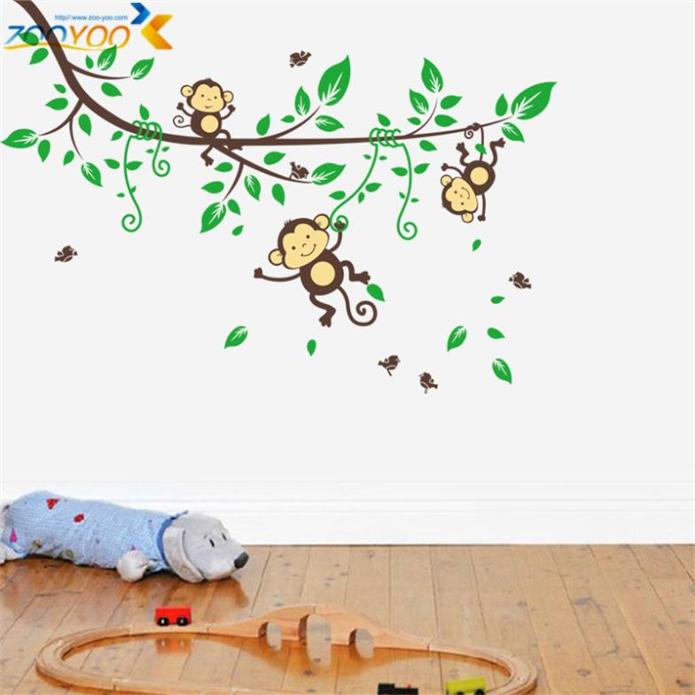 Hot Ing Monkey Wall Stickers For Kids Room Home Decorations Zooyoo1205 Animal Art Diy Nursery Cartoon Decals In From