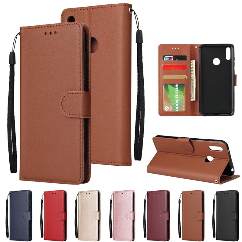 Y7 <font><b>2019</b></font> Case on sFor <font><b>Huawei</b></font> Y7 <font><b>2019</b></font> Cover Solid Color Wallet Flip Leather Phone Cases for <font><b>Fundas</b></font> <font><b>Huawei</b></font> <font><b>Y</b></font> <font><b>7</b></font> Y7 <font><b>2019</b></font> Case Capa image