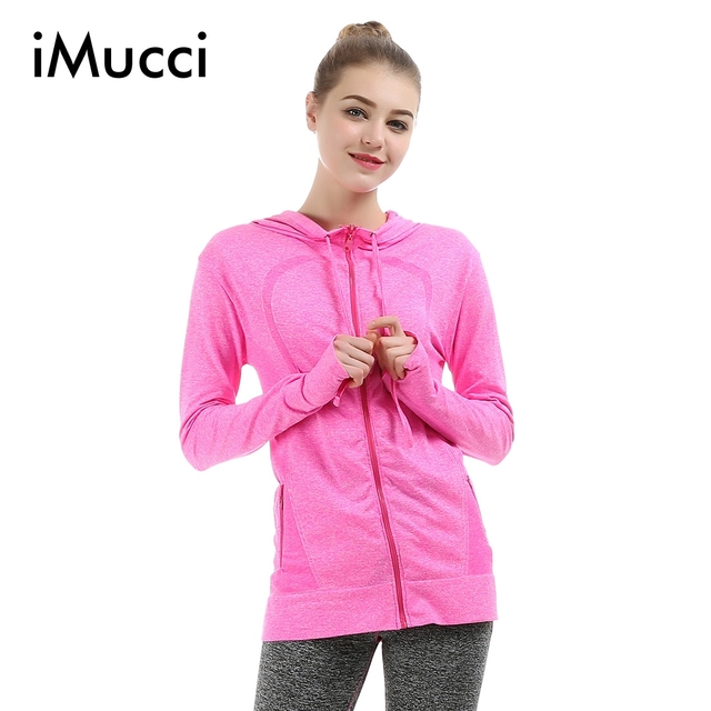 iMucci Women Jacket Quick-dry Long-sleeved Gymnastics Sweatshirt Cloth Fitness Jackets Outerwear chaquetas Coat