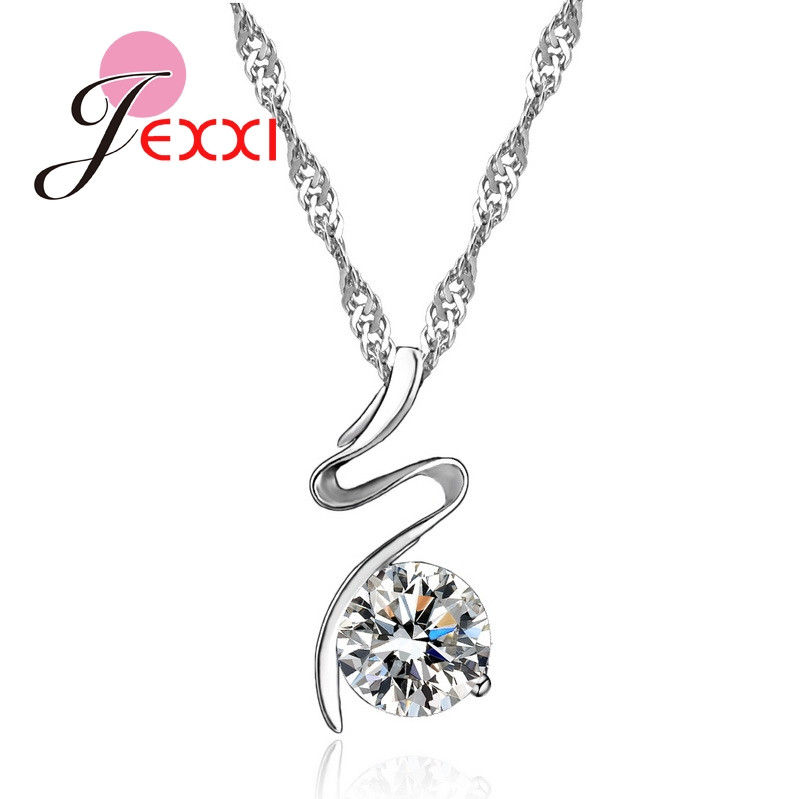 Giemi Fashion Women/Grils Chain Set With Necklace & Earring Hot Selling 925 Sterling Silver Jewelry A+++ Cubic Zirconia Pendant