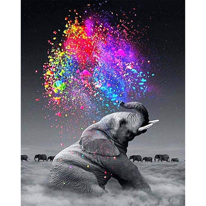 Nuage éléphant Cigarettes Animal bricolage numérique peinture par numéros moderne mur Art toile peinture Unique cadeau décor à la maison 40x50cm