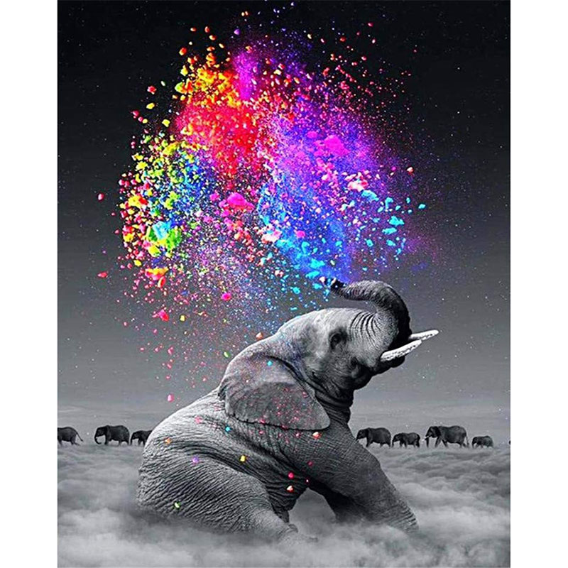 Painting By Numbers DIY Dropshipping 40x50 50x65cm Cloud Elephant Cigarettes Animal Canvas Wedding Decoration Art Picture Gift