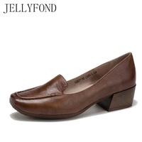 JELLYFOND 2018 Vintage Style Natural Skin Designer Women Pumps Handmade Real Leather Square Toe OL High