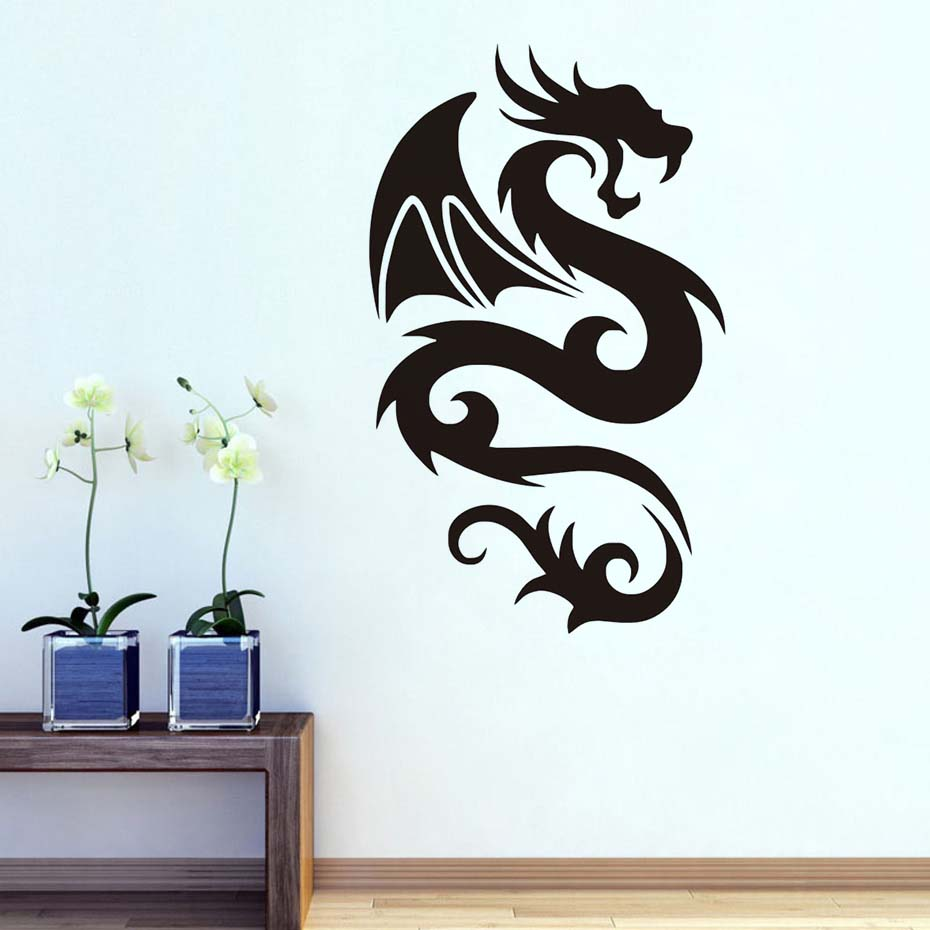 Peaceful Dragon with Wing Wall Sticker Vinyls for Wall Decals Children's Decorative Home Bedroom Living Room sofa Art WallPaper-in Wall Stickers from Home & Garden