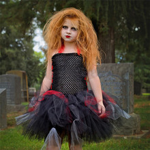 black red children christmas costume girl scary monster party dress baby kids zombie tutu dress holiday