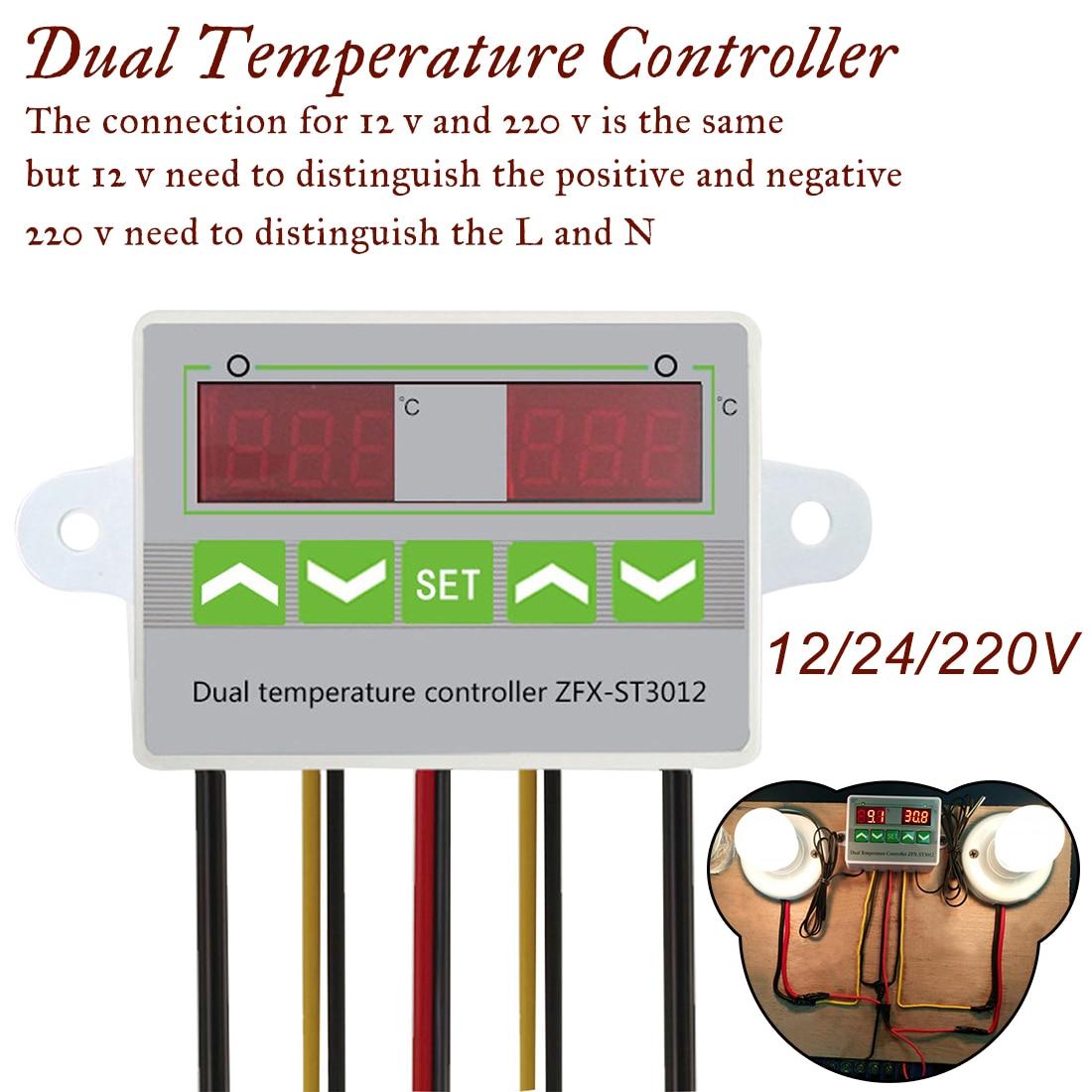 -50-110c Dual-sonde Digital Led Dual Thermometer Temperatur Controller Thermostat Inkubator Steuerung Mikrocomputer Ac 220 V 12 V