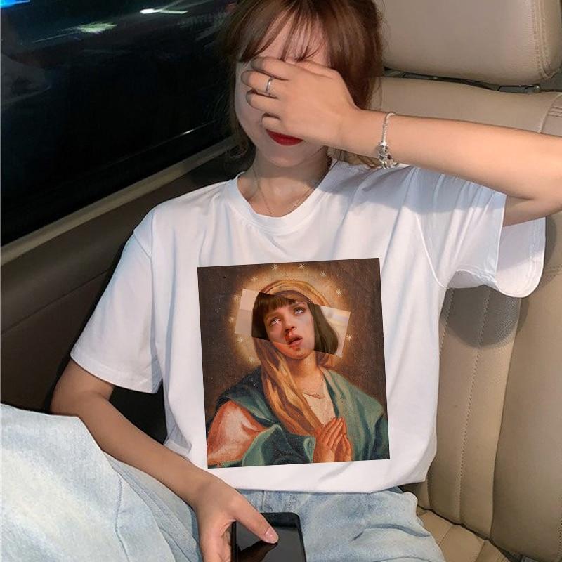 New Pulp Fiction Movie T Shirt Women Harajuku Ullzang 90s Korean T-shirt Aesthetic Funny Print Tshirt Graphic Top Tees Female 27