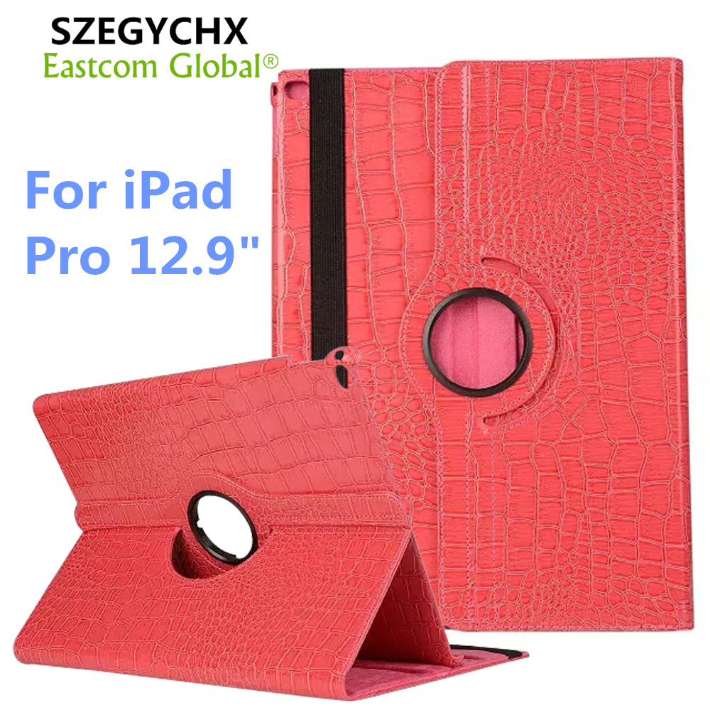 Tablet Case for iPad Pro 12.9 inch 360 Rotation PU Leather Crocodile for Pro 12.9 Smart Cover Flip With Stand Function SZEGYCHX for ipad pro 9 7 retro crocodile stand wallet smart leather cover dark blue