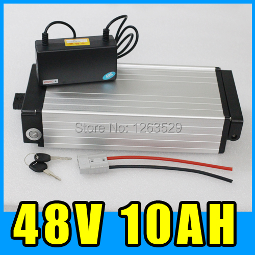 48V 10AH Rear rack Lithium Battery , Aluminum alloy Battery Pack , 54.6V Electric bicycle Scooter E-bike Free Shipping