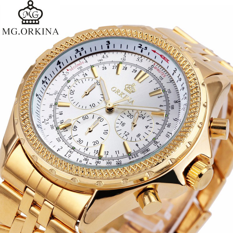 Luxury Top Brand Famous MG. ORKINA Gold Watch Men Watches 2017 Fashion Wristwatch Clock Quartz Wrist Watch Relogio Masculino все цены