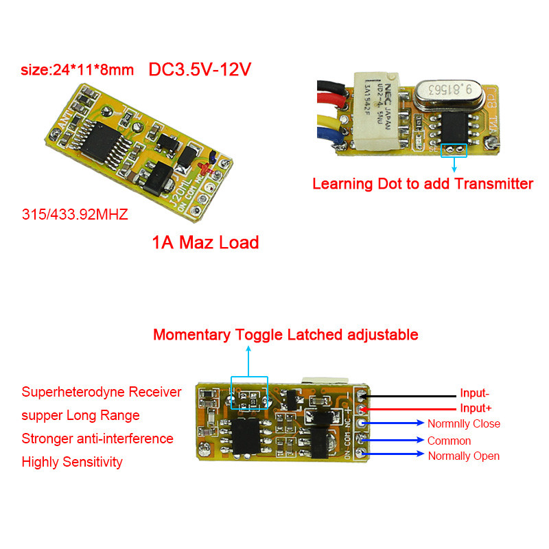Mini Relay Remote Switch DC3.7V 4.2V 5V 6V 7.4V 8.4V 9V 12V Output 0V Dry Contact Relay Switching Value NO COM NC 315/433 dc 12v relay remote switch no com nc contact wireless switch 2a relay rf rx normally open close lithium aaa battery supply ask