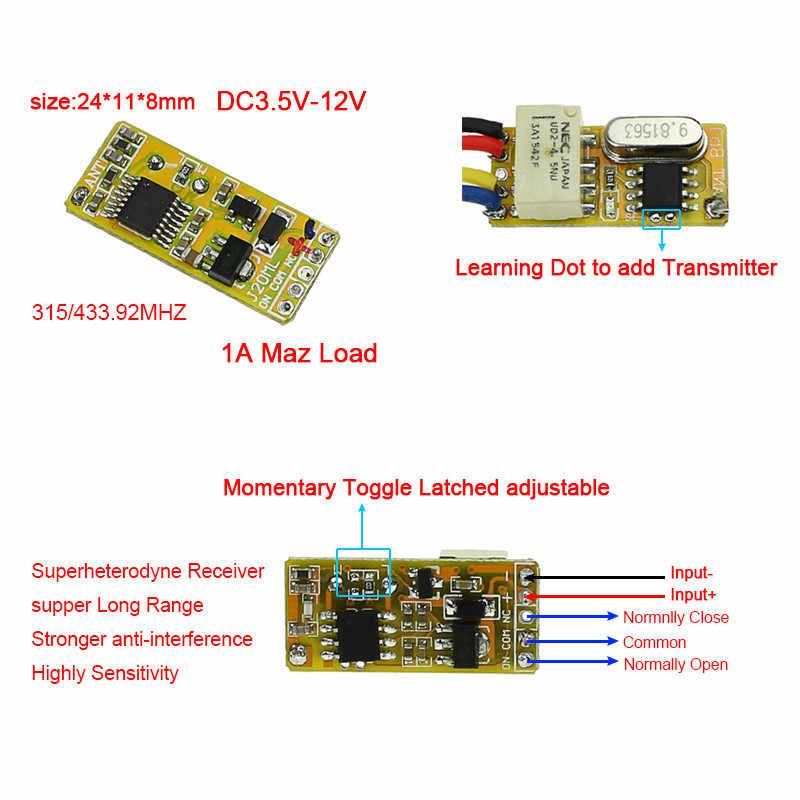 Mini relais commutateur à distance DC3.7V 4.2 V 5 V 6 V 7.4 V 8.4 V 9 V 12 V sortie 0 V Contact sec relais valeur de commutation NO COM NC 315/433
