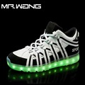 Brand Men 7 Colors luminous shoes LED glow shoe men  fashion USB rechargeable lantern highTop light Shoes DD-61