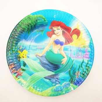 10pcs/sets 7inch Mermaid disposable plates plates kids birthday party supplies Mermaid paper dishes happy birthday image