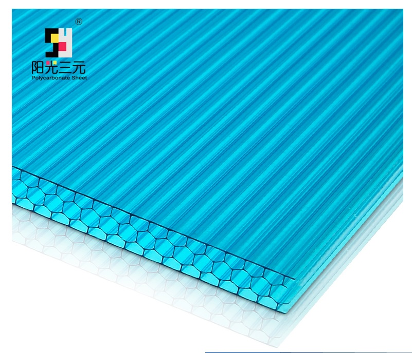 100 Sq Meters Pack, UV Protected Multiwall Polycarbonate Sheet, Honeycomb Profile, 2.1x3m/panelx16, Alumiunm Joints Included