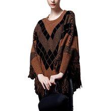 Winter Autumn Fashion Ladies Shirts Oversized Chess Street Midi Tassel Bats Long Sleeve Sweaters Women Sweater 2017 Outwear