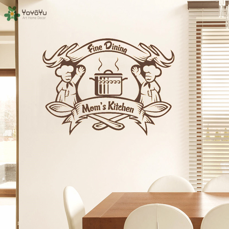 YOYOYU Wall Decal Moms Kitchen Creative Wall Sticker Quote Fine Dining Design Modern Art Removable Home Decor Adhesive DIYCY290