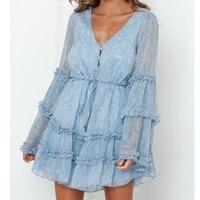 Tosheiny 2019 Women Summer V Neck Long Sleeve Ruffles Dresses Female Floral Print Elegant Mini Dress DM0207