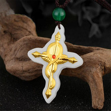 Hetian Jade Pendant For Men and Women Cross Necklace pattern White High Quality
